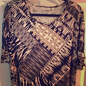 Susan Graver Tops - Susan Graver XL Tunic in black, whites & browns