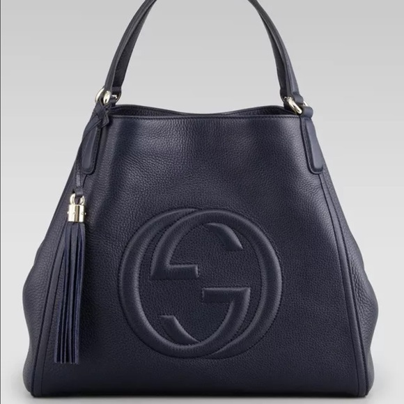 27e8f9d4701 Gucci Handbags - Discon Gucci Soho Medium Tote Midnight Navy Blue