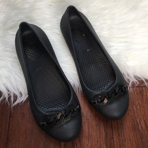 CROCS Shoes - | Crocs | Gianna Link Black Rubber Flats