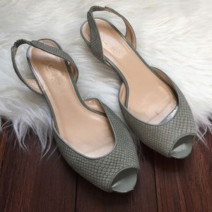 Talbots Shoes - | Talbots | Green Snakeskin Sling Back Mini Wedges