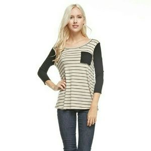 boutique Tops - 💥 SOFT Striped Top w/Ribbed Sleeves & Pocket
