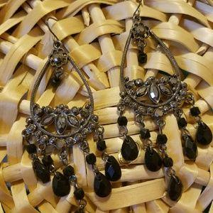 Silver and black Oynx hook Earrings