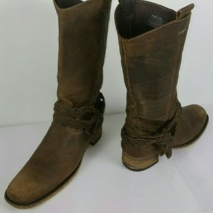 Bed Stu Shoes - Bed Stu Ladies Brwn Distressed Leather Boots, Sz 9