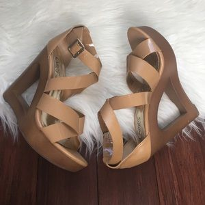 Carlos Santana Shoes - | Carlos Santana | Tan Strappy Cutout Wedges