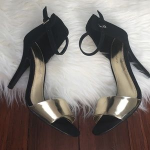 FIONI Clothing Shoes - | Fioni | Black and Gold Strappy Pumps