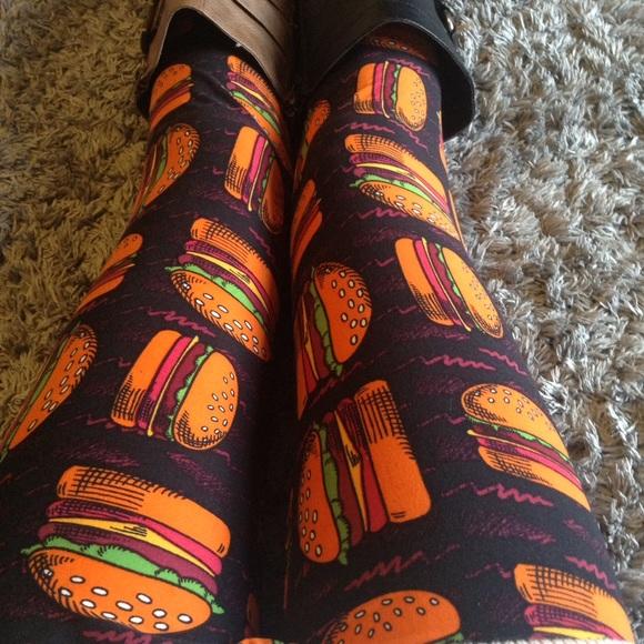 Lularoe Pants Tc Leggings Hamburgers Cheeseburgers New Poshmark
