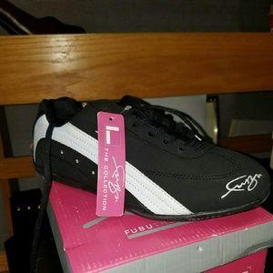 Black and white fubu shoes
