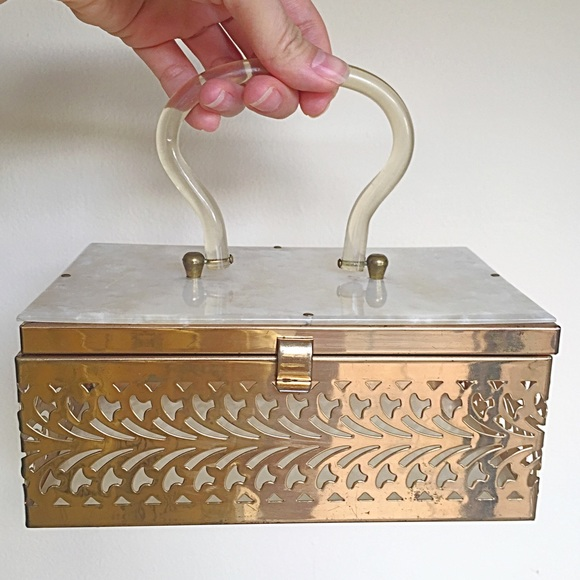 Vintage Handbags - 1950s Vintage Reticulated Metal and Lucite Box Bag