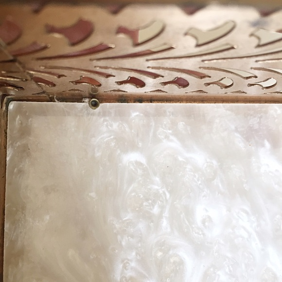 Vintage Bags - 1950s Vintage Reticulated Metal and Lucite Box Bag