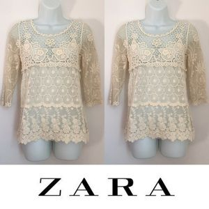Zara Tops - | Zara | Cream Knit 3/4 Sleeve Lace Blouse