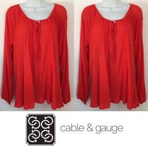 Cable & Gauge Tops - | Cable & Gauge | Red Lace Flowy Burnout Top