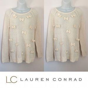 LC Lauren Conrad Sweaters - | Lauren Conrad Runway | Cream Knit Bow Sweater