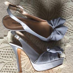Allure Bridal Shoes - Light Blue Satin Peep Toe Bow Heels
