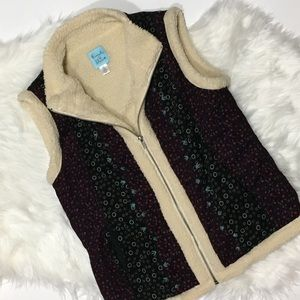 UO kimchi blue Sherpa lined Cord vest floral