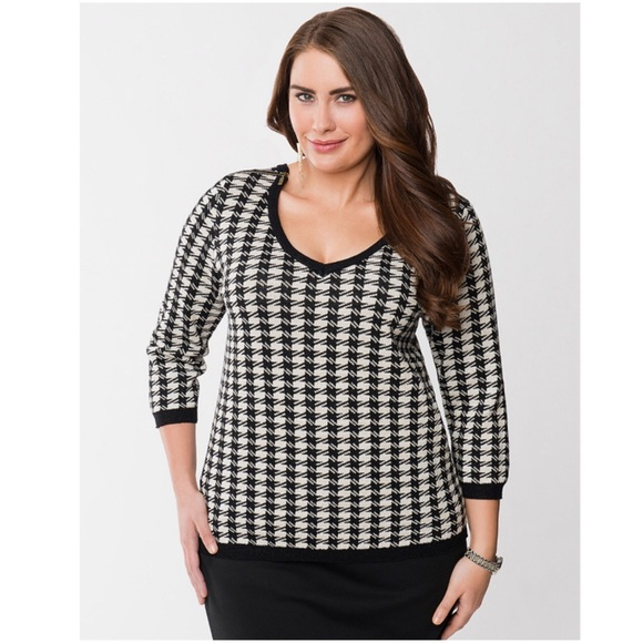 c28e2541de Lane Bryant Sweaters - Lane Bryant Houndstooth Scoop Neck Sweater