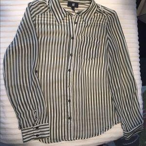 Iz Byer Tops - IZ Byer olive and cream stripe sheer blouse sz Med