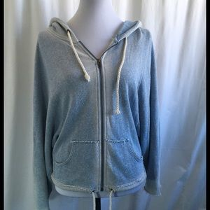 Free People Jackets & Blazers - Free People Distressed Light Blue Hoodie Size S