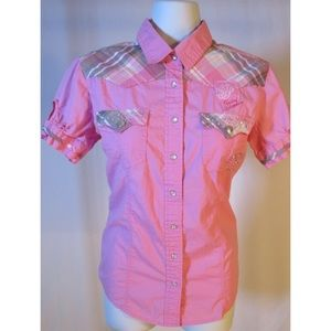 Tops - Button Down Short Sleeve Shirt - Bling Rhinestones