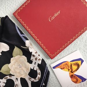 Cartier Accessories - Authentic Cartier Floral Silk Scarf