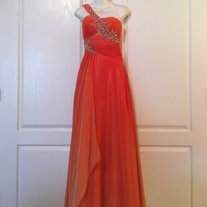Night Moves Dresses & Skirts - Orange Beaded Floor Length Gown