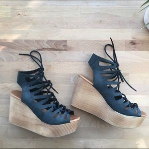 Jeffrey Campbell Shoes - Leather and Wood Platform Wedges