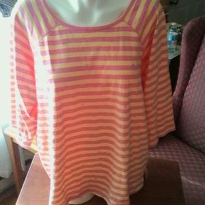 Quacker Factory Tops - Quacker Factory Pink Yellow Embellished Jersey 2X