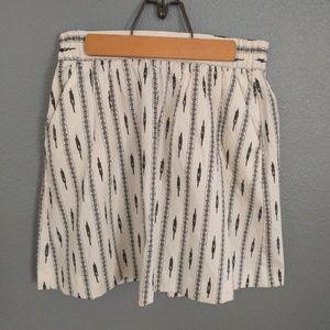 LOFT skirt, white + black print