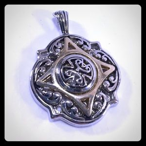 Jewelry - Charming Cross-Centered Pendant in Silver and Gold