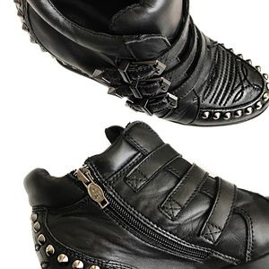 Ash Shoes - • Ash • Leather Studded Wedge Sneakers