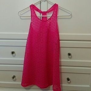 Other - NWT Macy's pink crochet coverup girls XL / 14