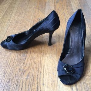 Kelly & Katie Shoes - 👠KELLY & KATIE Black Satin Jeweled Peep-toe Heels