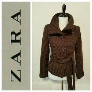 ZARA Basic~ Brown Wool Blend Waist Coat