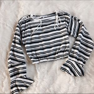 English Factory Tops - English Factory Striped Bell Sleeve Crop Top