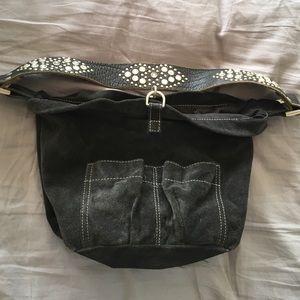 The Sak Handbags - Tylie Malibu charcoal gray suede hobo