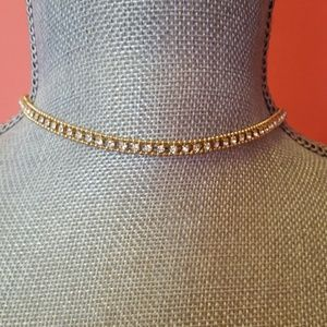 H&M Crystal Gold Chain Choker Necklace
