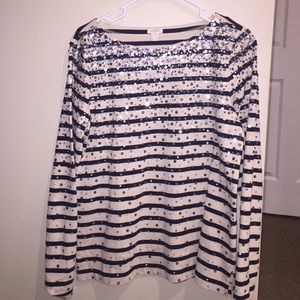 J. Crew sequined stripe long sleeve shirt size m
