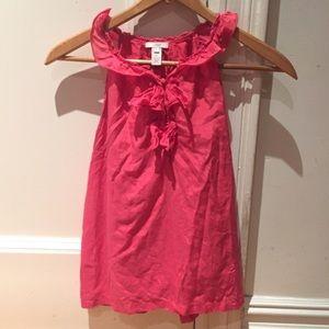 J Crew sleeveless pink ruffle silk blouse