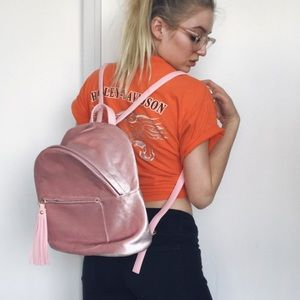 Nasty Gal Handbags - • mini velvet baby pink backpack •