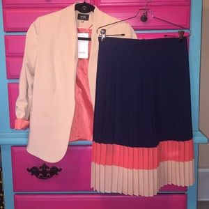 Blazer and pleated skirt