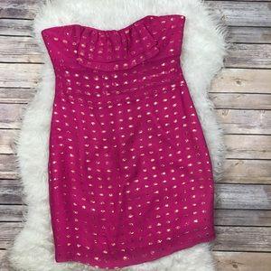 Britt Ryan Dresses & Skirts - Britt Ryan Pink Gold Polka Dot Strapless Dress
