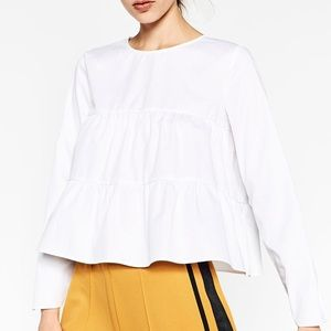 ZARA Frilled Top with Open Back, XS