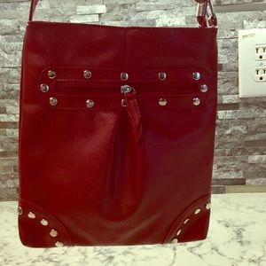 Handbags - Deep Red Studded Crossbody. BNIP.