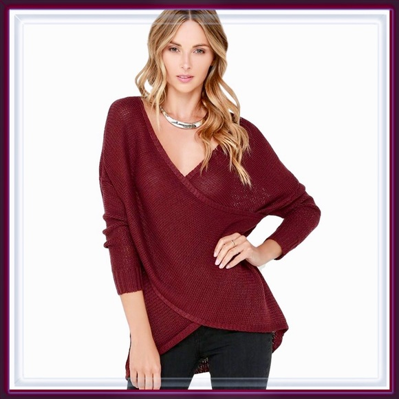 42248138eec NEW Cross Wrap V Neck Pullover Sweater in Wine