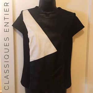 Classiques Entier Tops - Black and white leather panel top