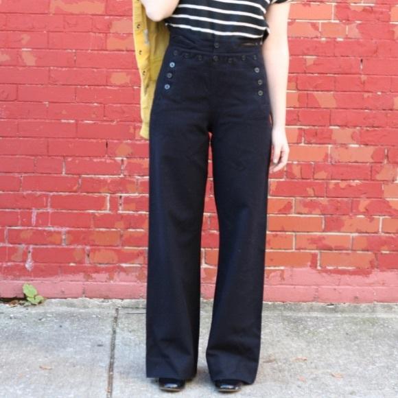 da4d694e2 Vintage 40s Style Sailor Pants Button Fly. M 587e880d4127d0fd901387f4
