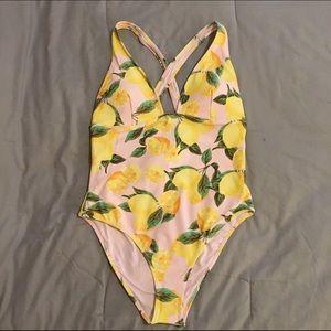 04895e89de Forever 21 Swim | Nwt Lemon Print One Piece Suit | Poshmark