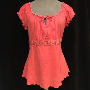 At Last Tops - Salmon Crinkle Cotton Tie Back Top Size M.