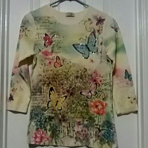 Cactus Tops - Yellow Butterfly Shirt
