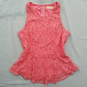 Altar'd State Tops - ♥HOST PICK ♥Altar'd State Pink Lace Peplum Top