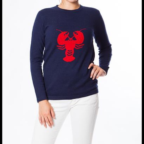 28% off Two Bees Cashmere Sweaters - Navy Cashmere Lobster Sweater ...
